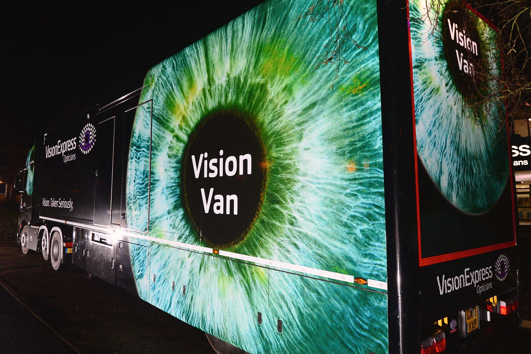 Lorry with Vision express vehiclke graphics